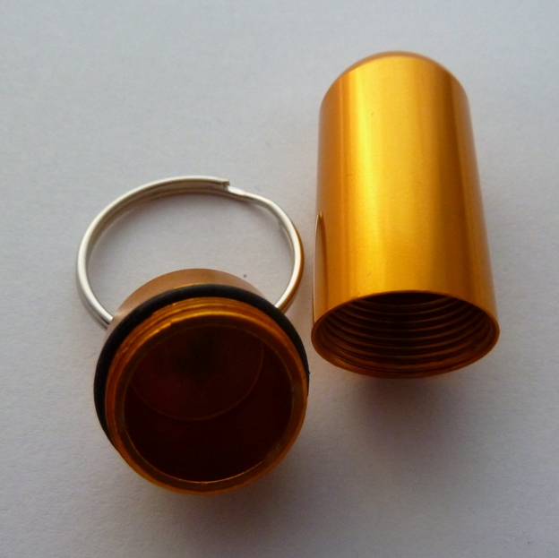 gold pill holder keyring
