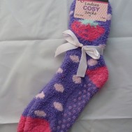purple with strawberries cosy socks