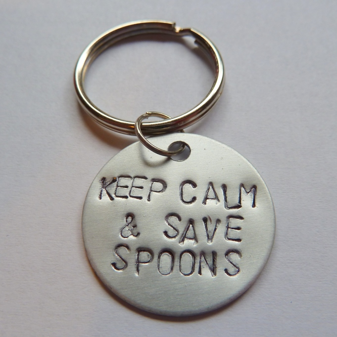 keep calm and save spoons keyring