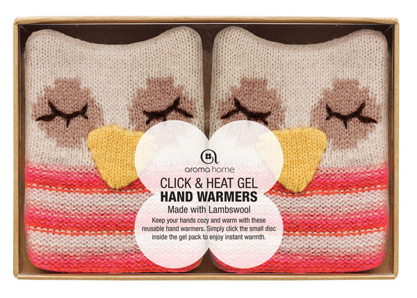 knitted owl hand warmers