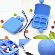 cute 4 compartment pill holder keyring